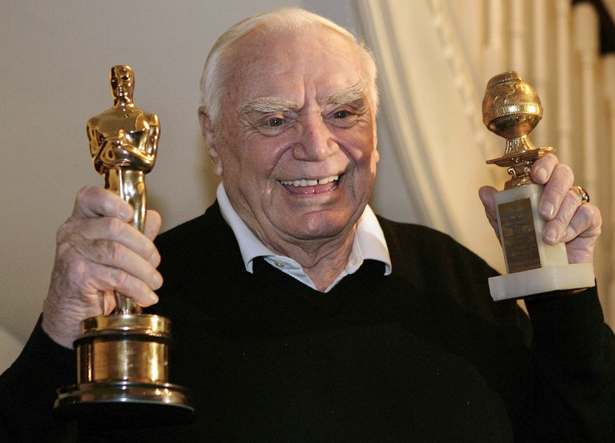 """**FILE** Actor Ernest Borgnine displays his Golden Globe (right) and Academy awards he received in 1956 for the movie """"Marty"""" in Beverly Hills, Calif., on Jan. 13, 2008. (Associated Press"""