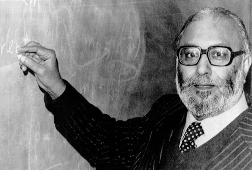 "**FILE** Abdus Salam, Pakistan's only Nobel laureate, is seen here on Oct 15, 1979, in London after receiving the news that he was joint winner of that year's Nobel Prize for physics. Salam, who belongs to a minority Muslim sect, helped develop the theoretical framework that led physicists to discover the ""God particle,"" is not celebrated by his country and schoolchildren are rarely even taught his name. (Associated Press)"