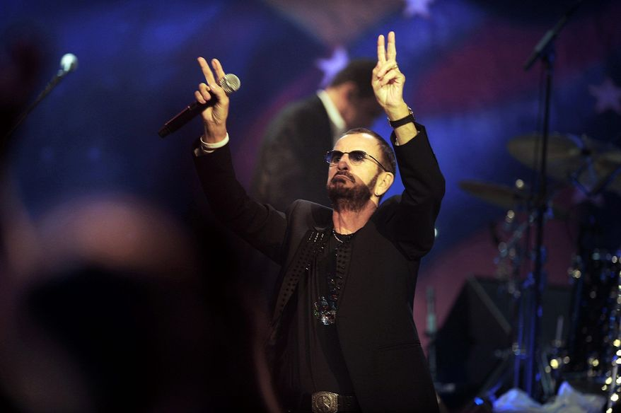 Ringo Starr and his All-Starr Band were onstage in Nashville, Tenn., on Saturday, July 7, 2012, for the 72nd birthday of the former Beatles drummer. (The Tennessean via Associated Press)
