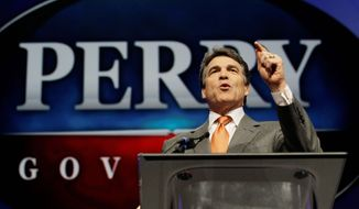 Texas Gov. Rick Perry speaks during the Texas Republican Convention in Fort Worth, Texas, on Thursday, June 7, 2012. (AP Photo/LM Otero)