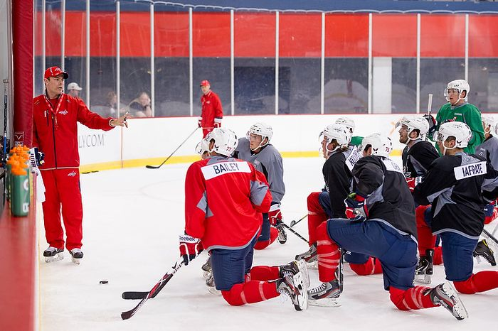 Washington Capitals head coach Adam Oates gives instructions for a drill on the first day of practice at the annual development camp at the Kettler Capitals Iceplex in Arlington on Monday, July 9, 2012. (Andrew Harnik/The Washington Times)