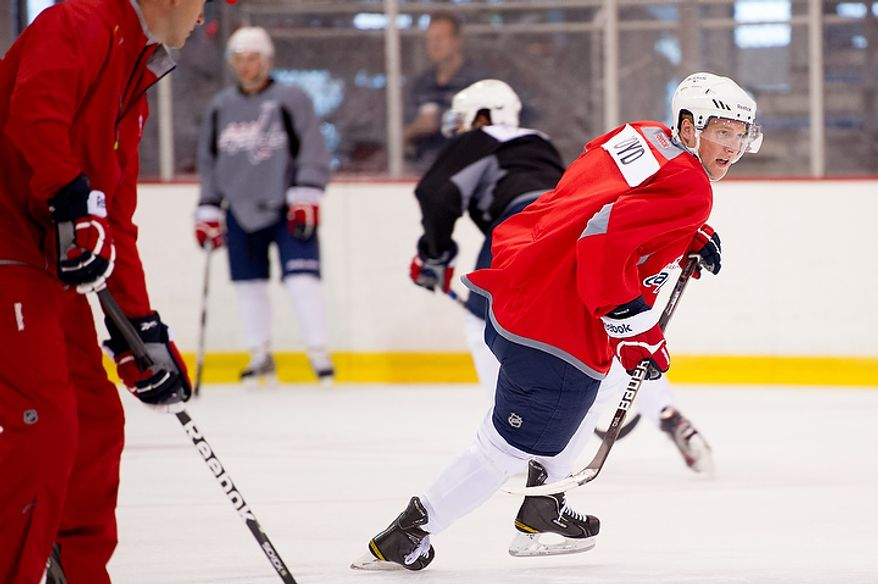 Travis Boyd practices with the Washington Capitals on their first day of development camp at the Kettler Capitals Iceplex in Arlington on Monday, July 9, 2012. (Andrew Harnik/The Washington Times) **File**