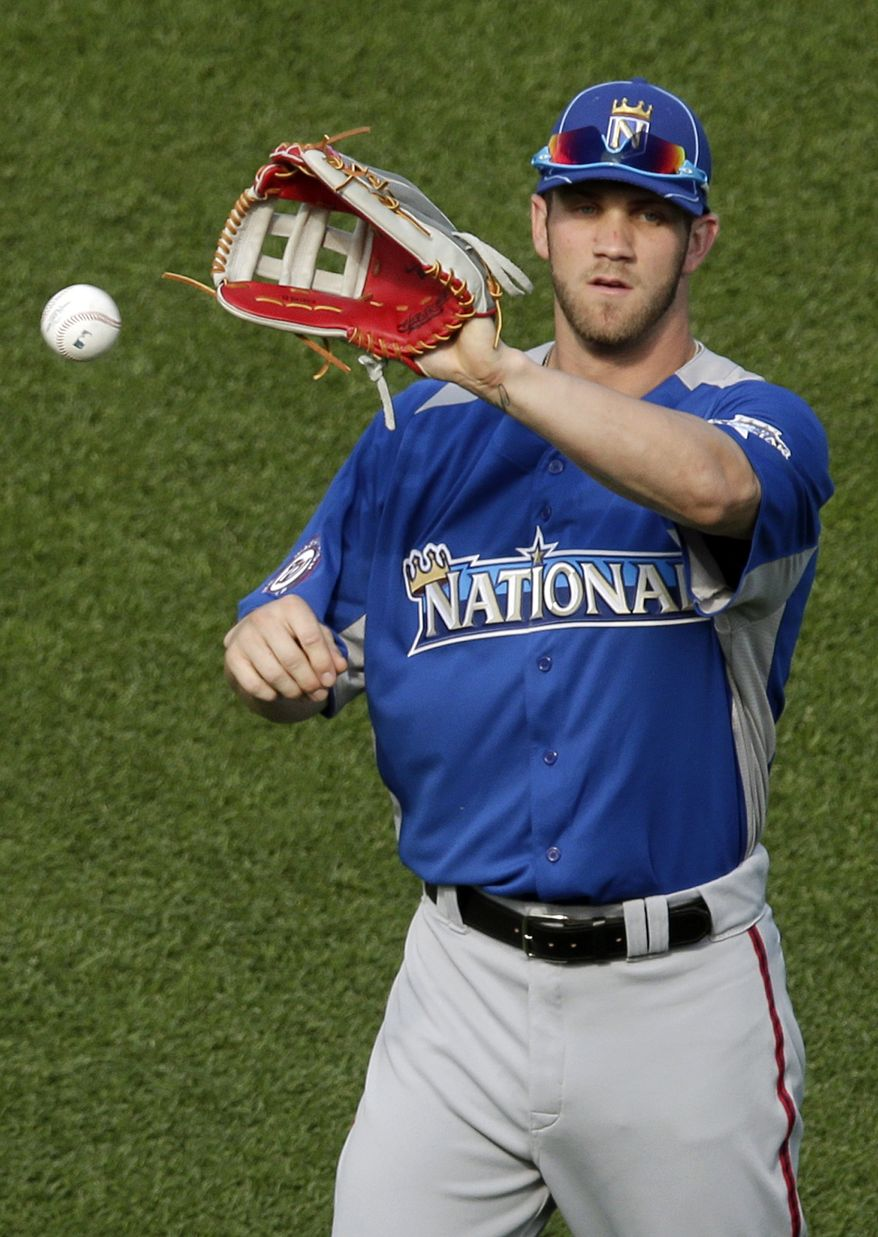 National League's Bryce Harper, of the Washington Nationals, warms up during MLB All-Star baseball batting practice, Monday, July 9, 2012, in Kansas City, Mo. (AP Photo/Charlie Riedel)