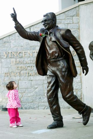 Joe Paterno was a legend at Penn State, but the coaching icon was fired in the wake of the Jerry Sandusky child sex abuse scandal. Paterno died in January. (Associated Press)