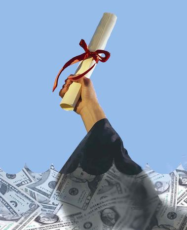 Illustration College Debt by John Camejo for The Washington Times