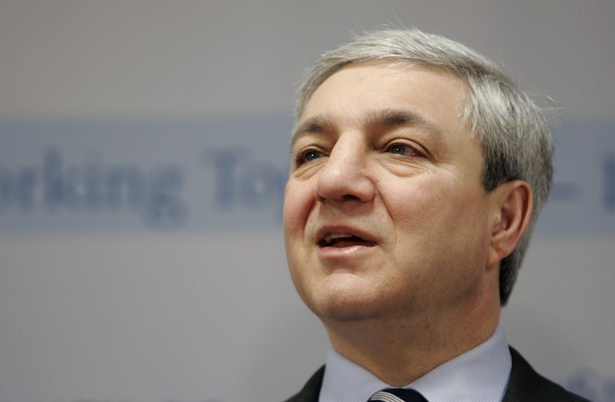 ** FILE ** Penn State President Graham Spanier speaks during a news conference at the Penn State Milton S. Hershey Medical Center in Hershey, Pa., in March 2007. (AP Photo/Carolyn Kaster)