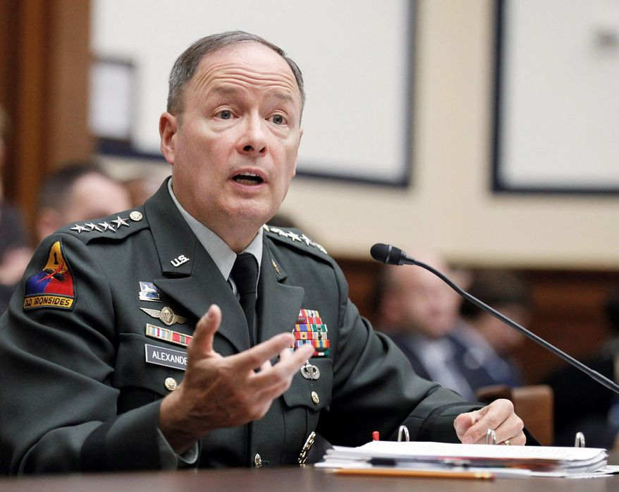 "Army Gen. Keith B. Alexander, chief of U.S. Cyber Command, this week told a Chinese reporter that he thinks ""defending our country in cyberspace is one of our most important missions ...  to ensure that we're secure."" (Associated Press)"