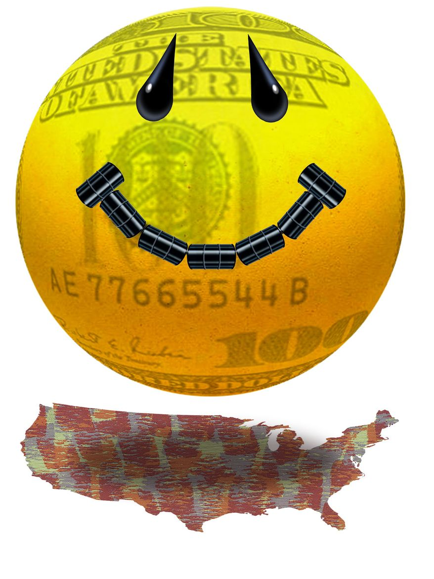 Illustration Oil Money for the States by Alexander Hunter for The Washington Times