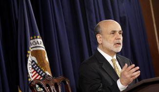 **FILE** Federal Reserve Board Chairman Ben S. Bernanke speaks June 20, 2012, during a news conference in Washington. (Associated Press)