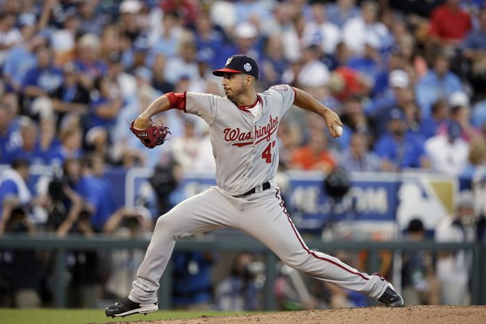 National League's Gio Gonzalez of the Washington Nationals threw a scoreless inning in the NL's 8-0 win over the American League in the All-Star Game on Tuesday night in Kansas City, Mo. (AP Photo/Charlie Riedel)