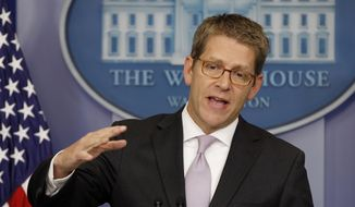 White House spokesman Jay Carney speaks July, 11, 2012, during his daily news briefing at the White House. (Associated Press)