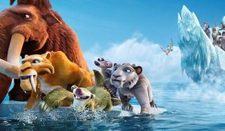 "20th Century Fox via Associated Press Characters voiced by (from left) Ray Romano, Denis Leary, John Leguizamo, Wanda Sykes and Jennifer Lopez fend off pirates in the animated sequel ""Ice Age: Continental Drift."" Mr. Leary and Miss Lopez voice saber-toothed tigers in the film, which is the fourth in the decade-old franchise."