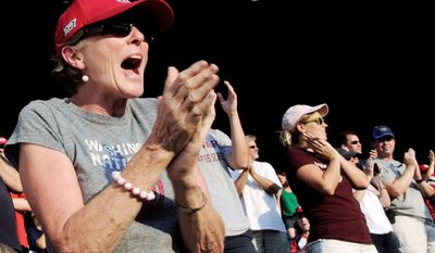 Phyllis Willson cheers for the Nationals during their game against the Rockies at Nationals Stadium in Washington, D.C., on Friday, July 6, 2012. (Preston Keres/Special to The Washington Times)