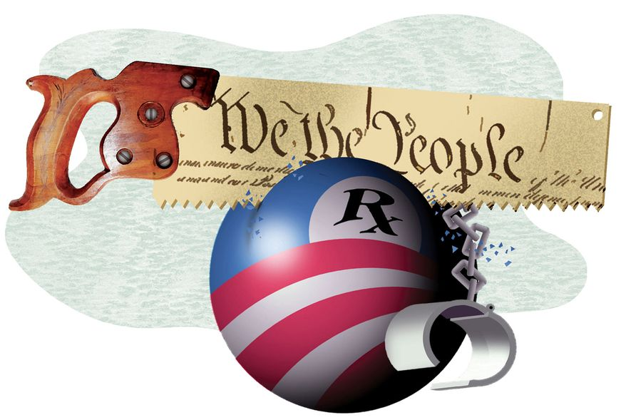 Illustration Vote out Obamacare by Alexander Hunter for The Washington Times