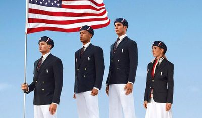 Swimmer Ryan Lochte (from left), decathlete Bryan Clay, rower Giuseppe Lanzone and soccer player Heather Mitts model the official Team USA uniform designed by Ralph Lauren for the opening ceremony of the London Olympic Games. (AP Photo/Ralph Lauren)