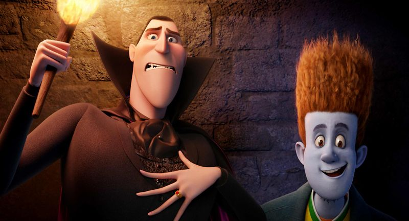 """This film image released by Sony pictures shows Dracula, voiced by Adam Sandler, left, and Johnnystein, voiced by Andy Samberg in a scene from """"Hotel Transylvania."""" The film, directed by Genndy Tartakovsky, will be released on Sept. 21. (AP Photo/Sony Pictures)"""