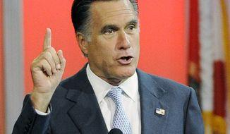Republican presidential candidate Mitt Romney speaks in Houston on Wednesday, July 11, 2012. (AP Photo/Pat Sullivan)