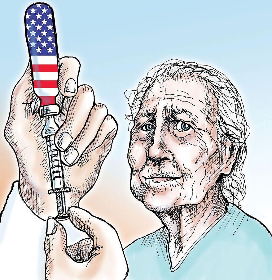 Illustration Obamacare by Alexander Hunter for The Washington Times