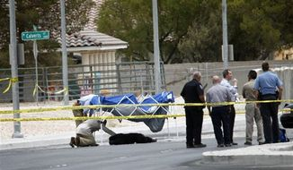 Metro officers and officials investigate the scene where an escaped male chimpanzee was shot and killed by a Metro officer, seen below the blue tent, on Ann Road just east of Jones Boulevard in North Las Vegas on Thursday, July 12, 2012. The chimpanzee, along with another female chimpanzee, escaped from a private residence near the scene. Metro police subdued and captured the female and shot and killed the male.