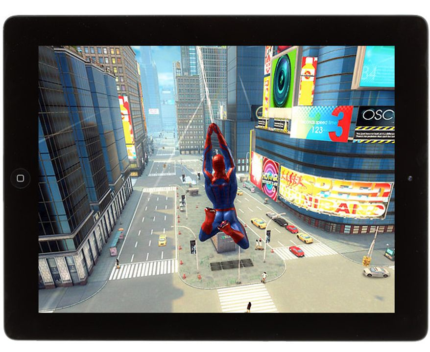 Spidey swings through New York City in the iPad game The Amazing Spider-Man.