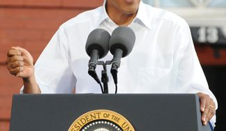 President Barack Obama speaks during a campaign stop at the historic Fire Station No. 1, in downtown Roanoke, Va., Friday, July 13, 2012. Obama traveled to southwest Virginia to discuss choice in this election between two fundamentally different visions on how to grow the economy, create middle-class jobs and pay down the debt. (AP Photo/Don Petersen)