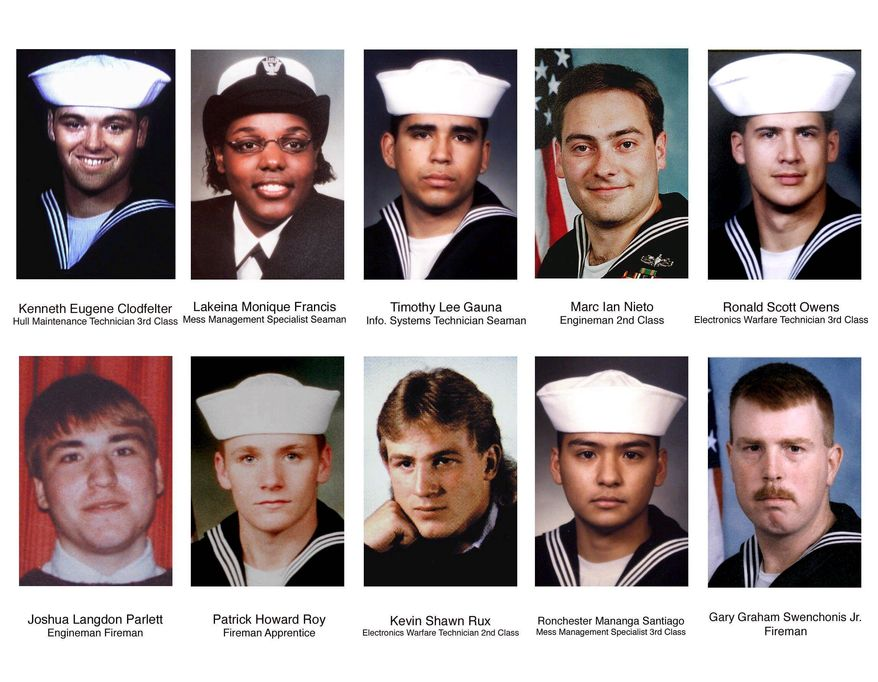 Seventeen sailors died and 39 were injured in a suicide attack on the USS Cole the day before while it was refueling in the Yemeni port of Aden. (Associated Press)