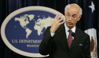 Andrew Natsios, the president's special envoy for Sudan, gestures during a press briefing on Darfur and the U.S.-imposed sanctions, on Tuesday, May 29, 2007, at the State Department in Washington. (Associated Press)