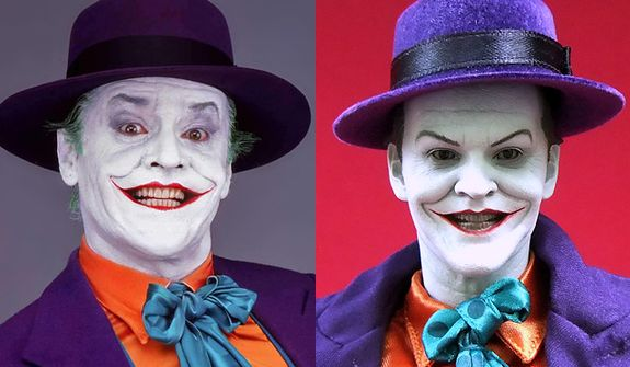 Actor Jack Nicholson as The Joker compared to the 1:6 scale figure from Hot Toys.