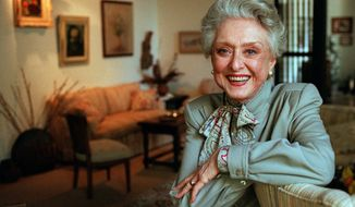 Actress Celeste Holm poses at a friend's home in Santa Monica, Calif., in 1997. (AP Photo/Kevork Djansezian)