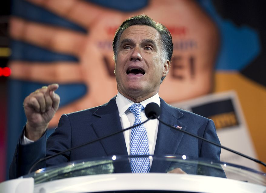 **FILE** Republican presidential candidate Mitt Romney speaks July 11, 2012, during NAACP annual convention in Houston. (Associated Press)