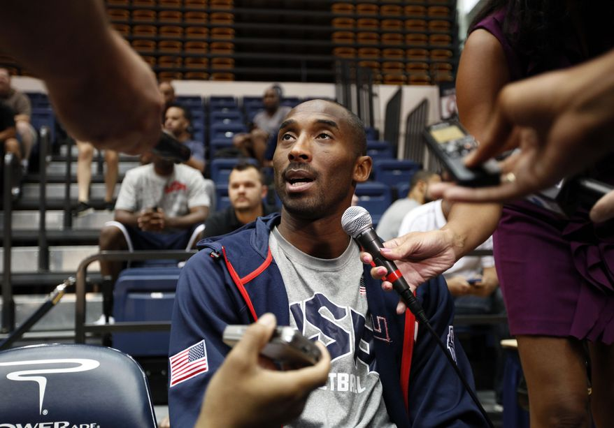 U.S. men's national basketball team guard Kobe Bryant speaks July 15, 2012, in Washington during a media availability before a team practice. (Associated Press)
