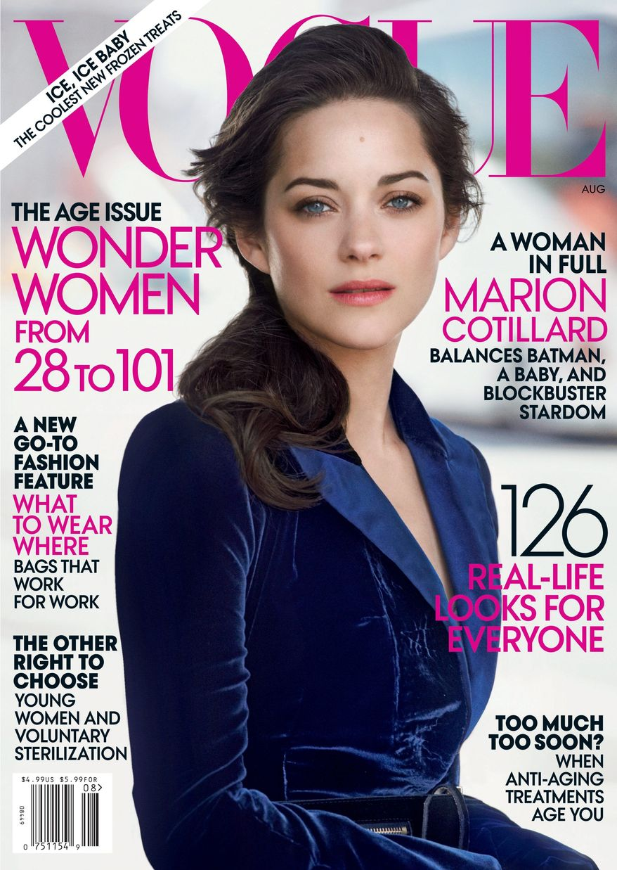 Academy Award-winning French actress Marion Cotillard graces the cover of Vogue, on newsstands on July 24. (AP Photo/Vogue)