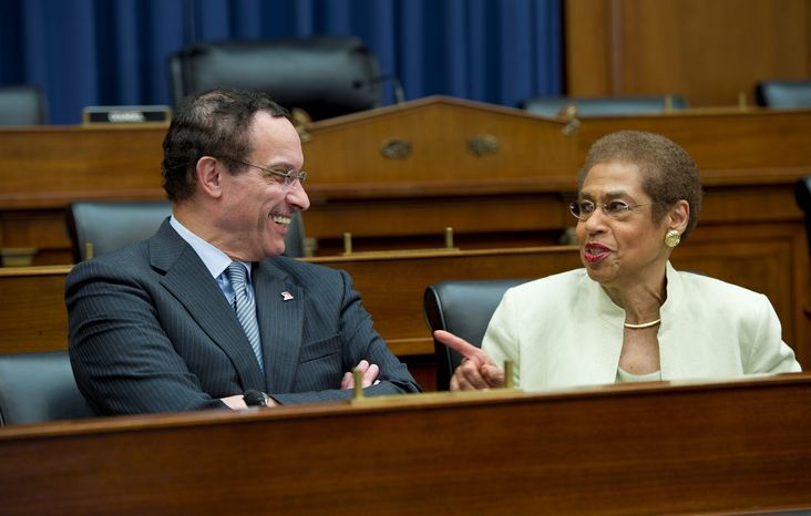 **FILE** Mayor Vincent Gray and D.C. Congresswoman Eleanor Holmes Norton share a laugh before a press conference at the Rayburn House Office Building in Washington, D.C. on Thursday, May 17, 2012. (Barbara L. Salisbury/The Washington Times)