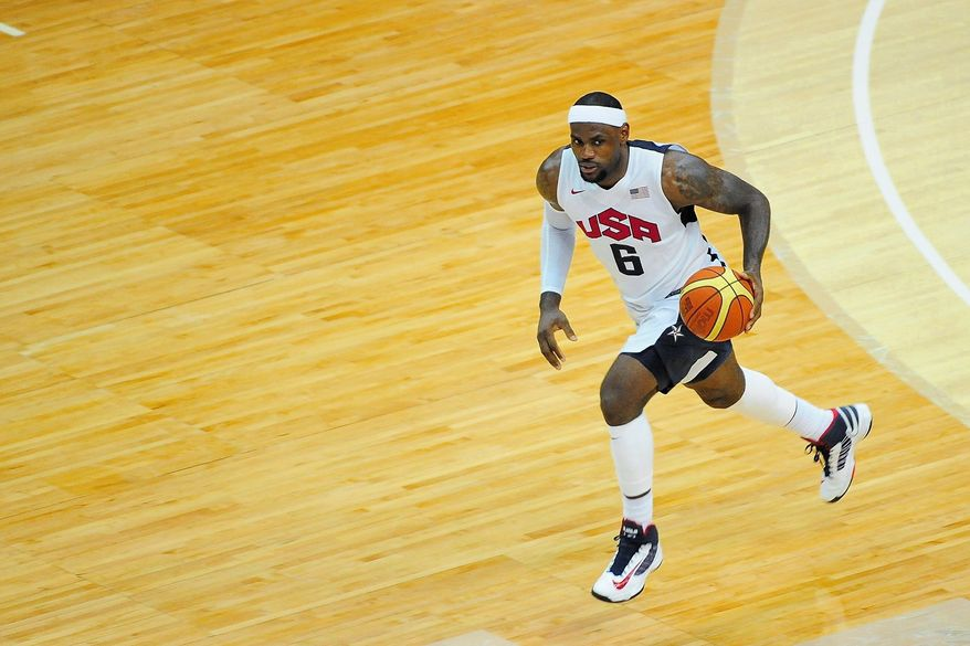 LeBron James and Team USA will take on Great Britain on Thursday night in Manchester, England. James scored 30 points to lead the Americans to an 80-69 victory over Brazil in an exhibition at Verizon Center on Monday night. (Ryan M.L. Young/The Washington Times)