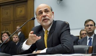 Federal Reserve Chairman Ben S. Bernanke appears before the House Financial Services Committee on Capitol Hill in Washington on Wednesday, July 18, 2012, to deliver his twice-yearly report to Congress on the state of the economy. (AP Photo/J. Scott Applewhite)