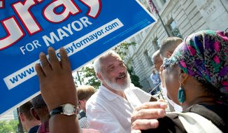 The Rev. Graylan Hagler (left) talks with Deborah Harris of Washington, a supporter of D.C Mayor Vincent C. Gray, during a faith-based rally on the front steps of the John A. Wilson Building in Washington on Wednesday, July 18, 2012. Supporters called upon the crowd and the public not to rush to judgment, as three D.C. Council members have openly called for Mr. Gray's resignation in light of the scandal surrounding his 2010 election campaign. (Rod Lamkey Jr./The Washington Times)
