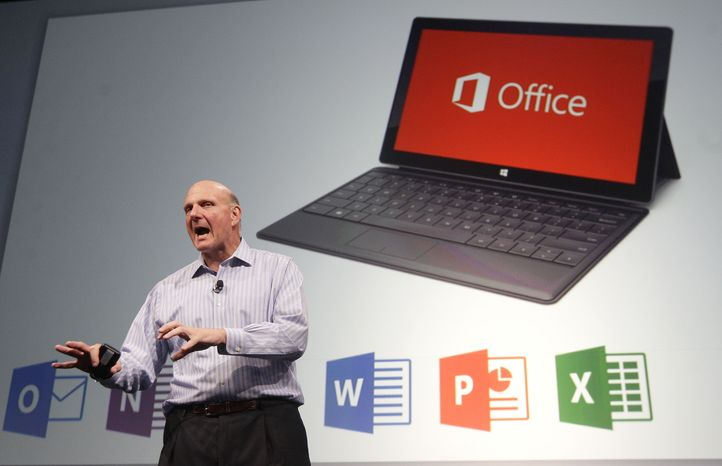 Microsoft CEO Steve Ballmer speaks at a Microsoft event in San Francisco, Monday, July 16, 2012. Microsoft unveiled a new version of its widely used, lucrative suite of word processing, spreadsheet and email programs Monday, one designed specifically with tablet computers and Internet-based storage in mind. (AP Photo/Jeff Chiu)