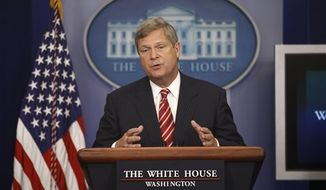 Secretary of Agriculture Tom Vilsack talks about the drought during the press briefing at the White House in Washington on Wednesday, July 18, 2012. (AP Photo/Charles Dharapak)
