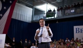 Republican presidential candidate Mitt Romney speaks July 18, 2012, during a campaign stop in Bowling Green, Ohio. (Associated Press)