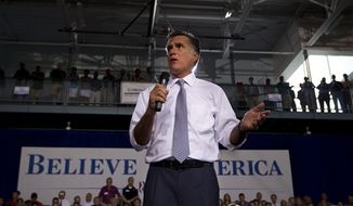 Republican presidential candidate Mitt Romney speaks July 18, 2012, during a campaign event in Bowling Green, Ohio. (Associated Press)