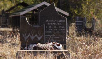 In this Monday, June 11, 2012 photo, a headstone marks the grave in Nweli, South Africa, where Benedict Daswa is buried. Daswa, who was born Tshimangadzo Samuel and raised in a traditionalist South African family, changed his name when he became a Catholic. The Catholic schoolteacher, revered for his good deeds, honesty and compassion, was also a fierce foe of the witchcraft widely practiced here. When a lightning bolt struck the village and Daswa resisted the elders' call for hiring an exorcist, he was chased into a pub and beaten to death. Twenty-two years later, his memory is still so revered that he has been nominated as South Africa's first saint. The Vatican is studying the application. (AP Photo/Denis Farrell)