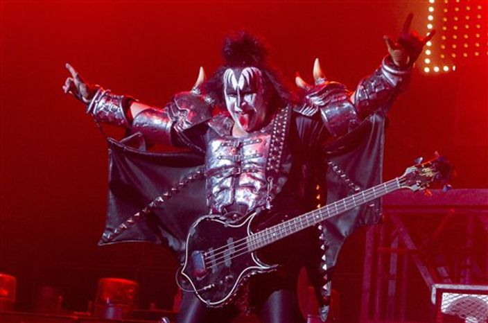 Gene Simmons and Kiss were in England on the Fourth of July, where they performed a benefit in London for the charity Help for Heroes, which aids British military veterans. (Associated Press)