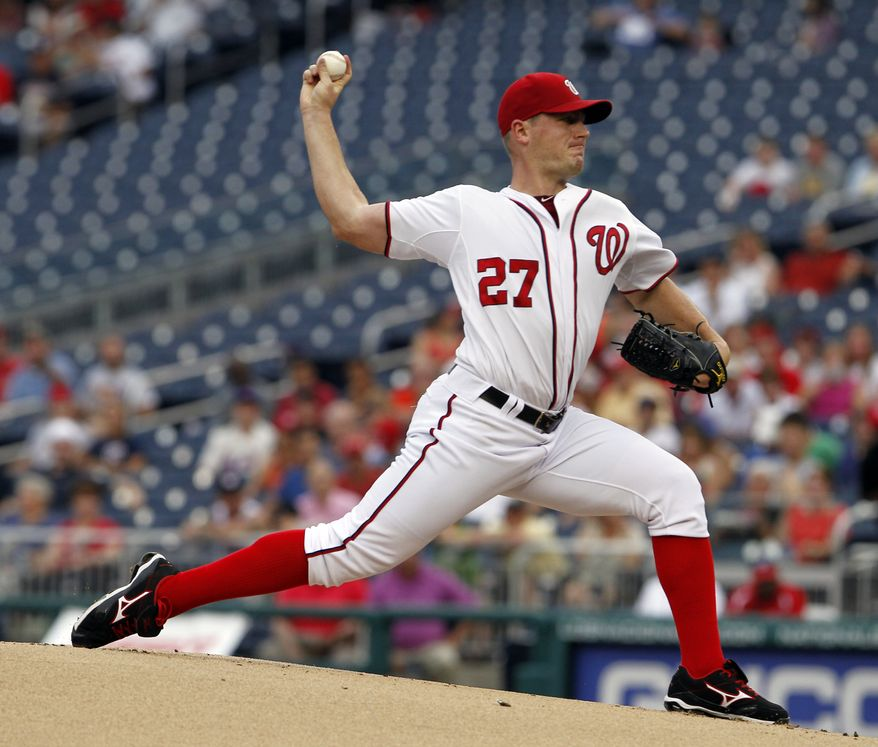 Washington Nationals starting pitcher Jordan Zimmermann throws during the first inning of a baseball game against the New York Mets on Wednesday, July 18, 2012, in Washington. (AP Photo/Alex Brandon)
