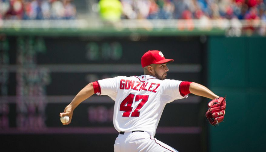 Gio Gonzalez delivers in the top of the first inning as the Washington Nationals host the New York Mets. (Rod Lamkey Jr./The Washington Times)