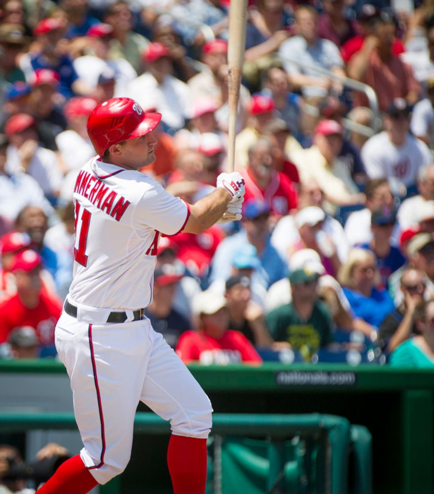 Nationals Ryan Zimmerman connects for a home run in the bottom of the first inning. (Rod Lamkey Jr./The Washington Times)
