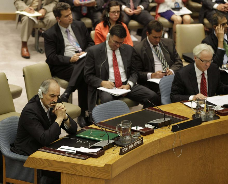 Syria's U.N. Ambassador Bashar Ja'afari (far left) and Russia's U.N. Ambassador Vitaly Churkin (far right) listen to speakers July 19, 2012, during a Security Council vote at the United Nations. Russia and China vetoed a U.N. resolution to impose non-military sanctions on Syria. (Associated Press)