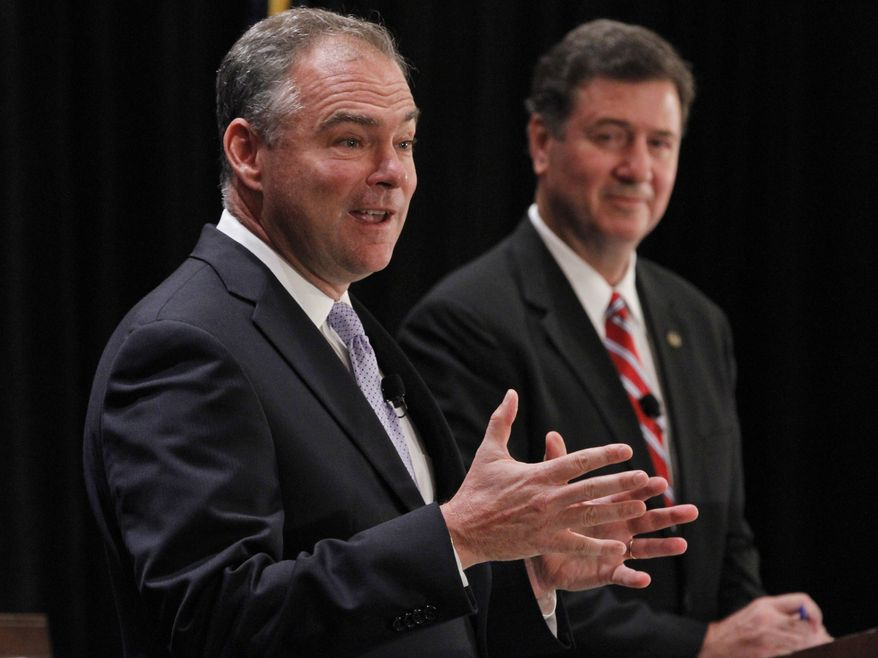 Former Virginia Gov. Tim Kaine (left) speaks on Saturday, July 21, 2012, as former Sen. George Allen, also a former governor, listens during the Virginia Bar Association's senatorial debate at the Homestead in Hot Springs, Va. (Associated Press)