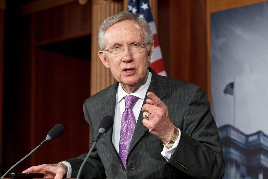 **FILE ** Senate Majority Leader Harry Reid, Nevada Democrat (AP Photo/J. Scott Applewhite)