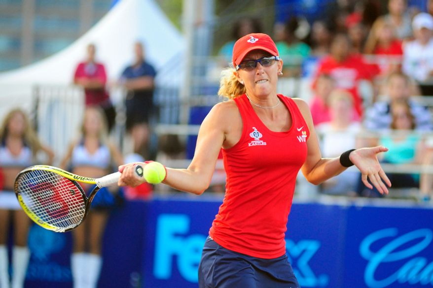 Anastasia Rodionova hits a shot while playing in a World Team Tennis match between the Washington Kastles and the Kansas City Explorers.   (Ryan M.L. Young/The Washington Times)