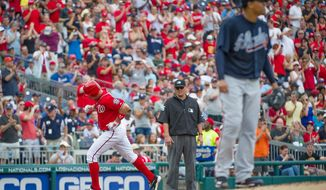 Nationals' Ryan Zimmerman rounds the bases after his two-run home run in the bottom of the second inning. (Rod Lamkey Jr./The Washington Times)